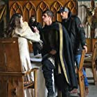 Giles Alderson, Stella Stocker, Joel Phillimore and Andrew Rodger on set of Knights of Camelot