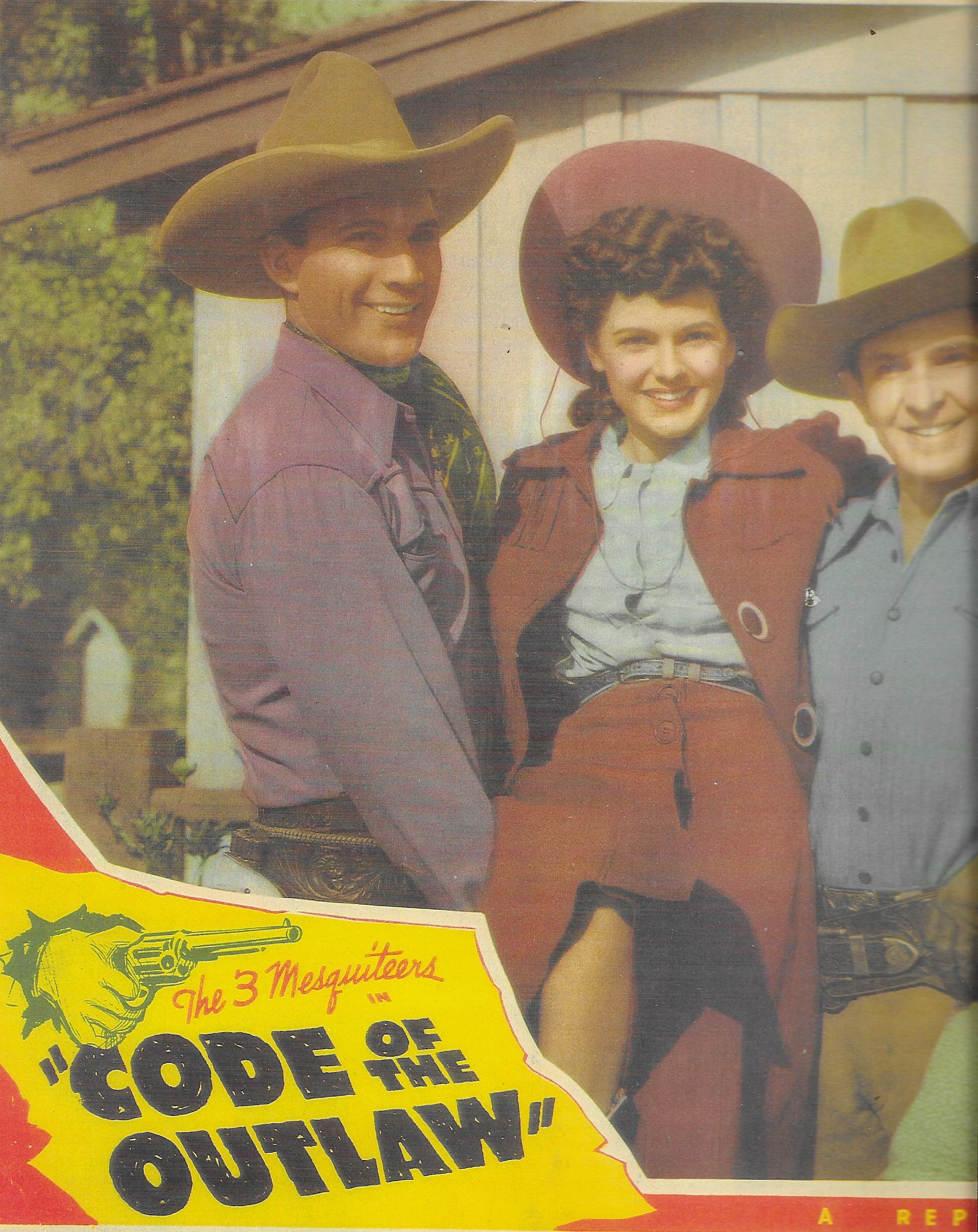 Linda Leighton, Bob Steele, and Tom Tyler in Code of the Outlaw (1942)