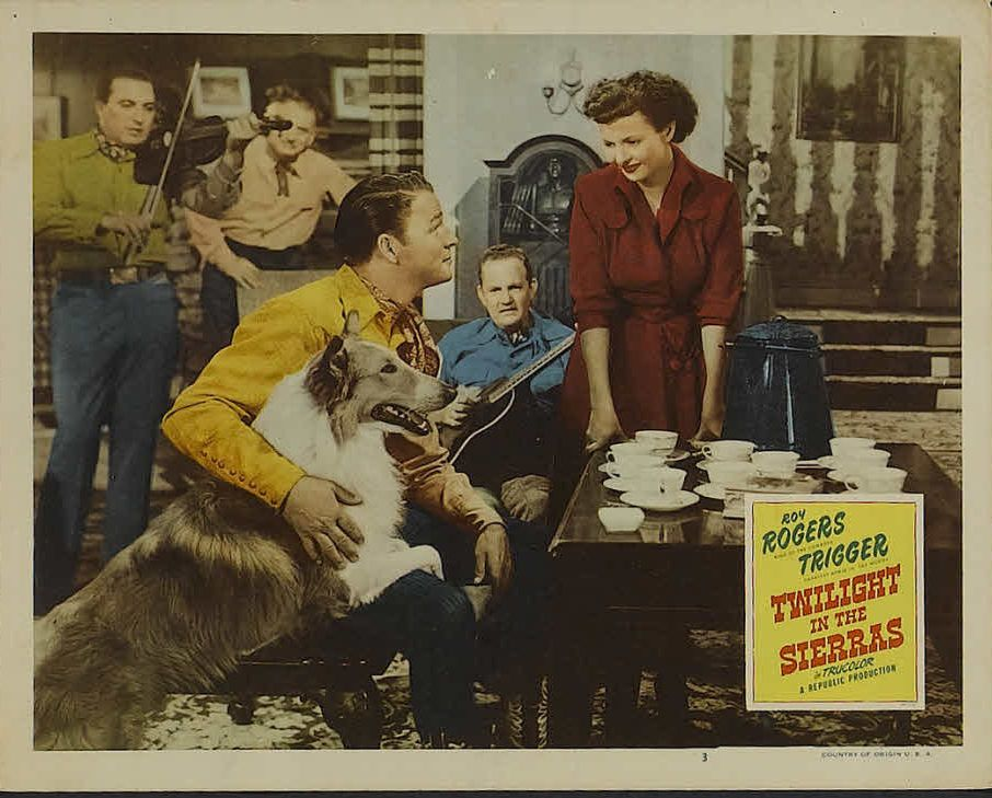 Roy Rogers, Dale Evans, Johnny Paul, Harry Strang, and Foy Willing in Twilight in the Sierras (1950)