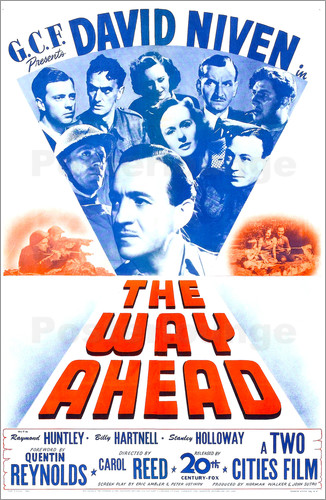 David Niven, Hugh Burden, James Donald, Leslie Dwyer, Jimmy Hanley, William Hartnell, Stanley Holloway, Mary Jerrold, John Laurie, and Tessie O'Shea in The Way Ahead (1944)
