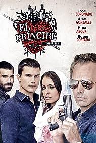 Jose Coronado, Álex González, Hiba Abouk, and Rubén Cortada in El Príncipe (2014)