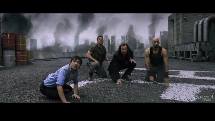 Norman Yeung as Kim Yong, with Sergio Peris-Mencheta, Kim Coates, and Boris Kodjoe in RESIDENT EVIL: AFTERLIFE