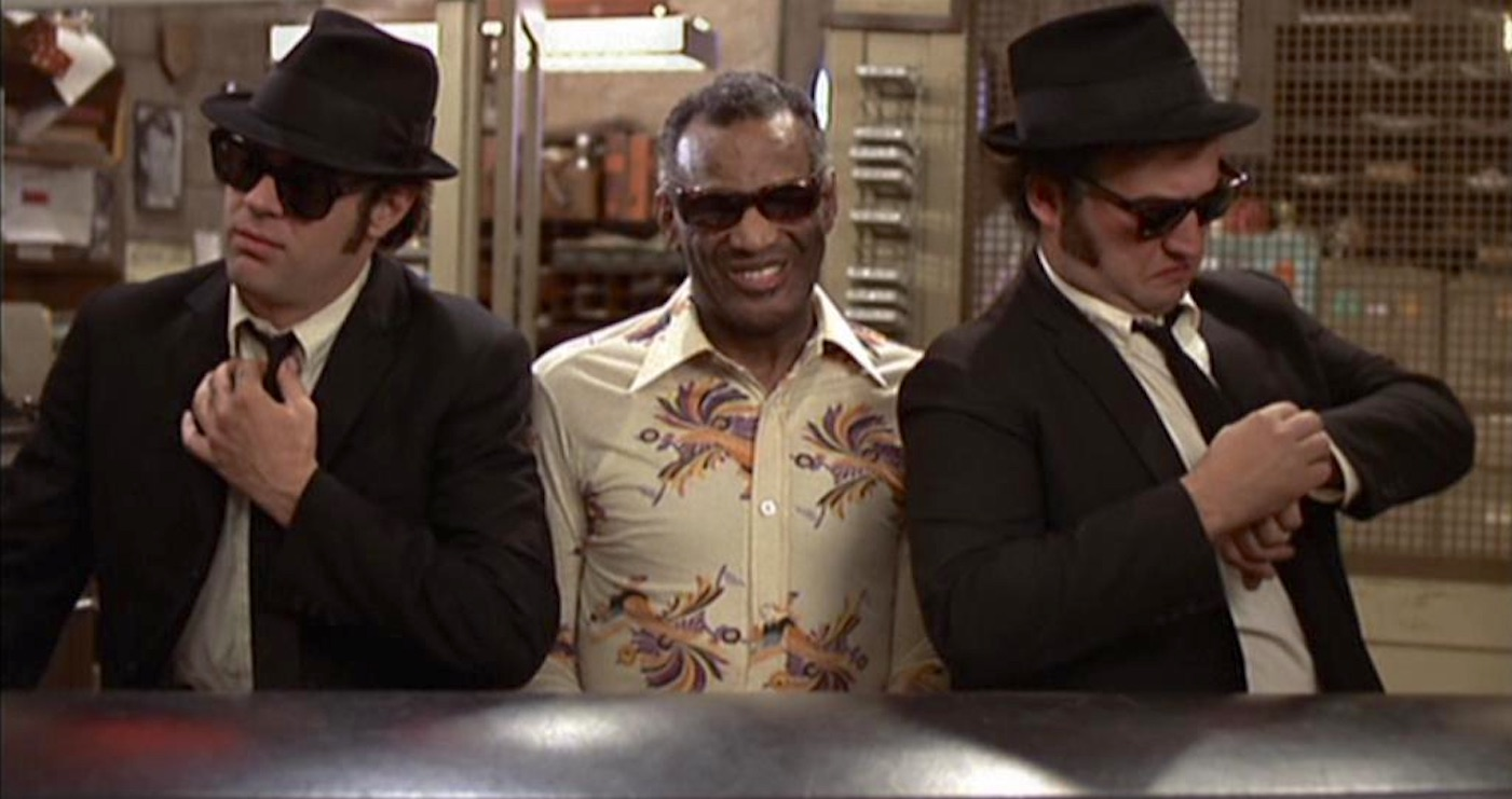 John Belushi, Dan Aykroyd, and Ray Charles in The Blues Brothers (1980)