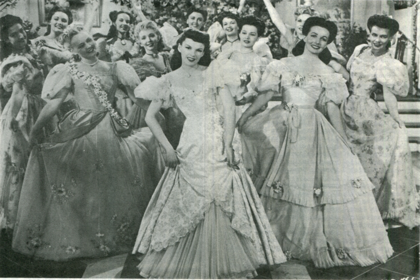 Judy Garland, Cyd Charisse, Jane Allen, Jean Ashton, Eleanor Bayley, Ruth Brady, Joan Carey, Lucille Casey, Virginia Davis, Dona Dax, Gwen Donovan, Mary Jo Ellis, Virginia Engels, Mary Jane French, Dorothy Raye, Virginia Gumm, Gloria Hope, Thelma Joel, Vera Lee, Mary Moder, Daphne Moore, Loulie Jean Norman, Virginia O'Brien, Shirley Patterson, Joan Thorsen, Dorothy Tuttle, Jacqueline White, Ruth Clark, Dorothy Wilkerson, Edith Motridge, Vivian Edwards, and Meredyth Durrell in The Harvey Girls (1946)