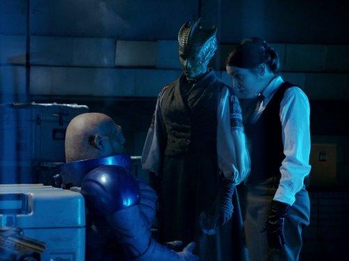 Neve McIntosh, Catrin Stewart, and Dan Starkey in Doctor Who (2005)