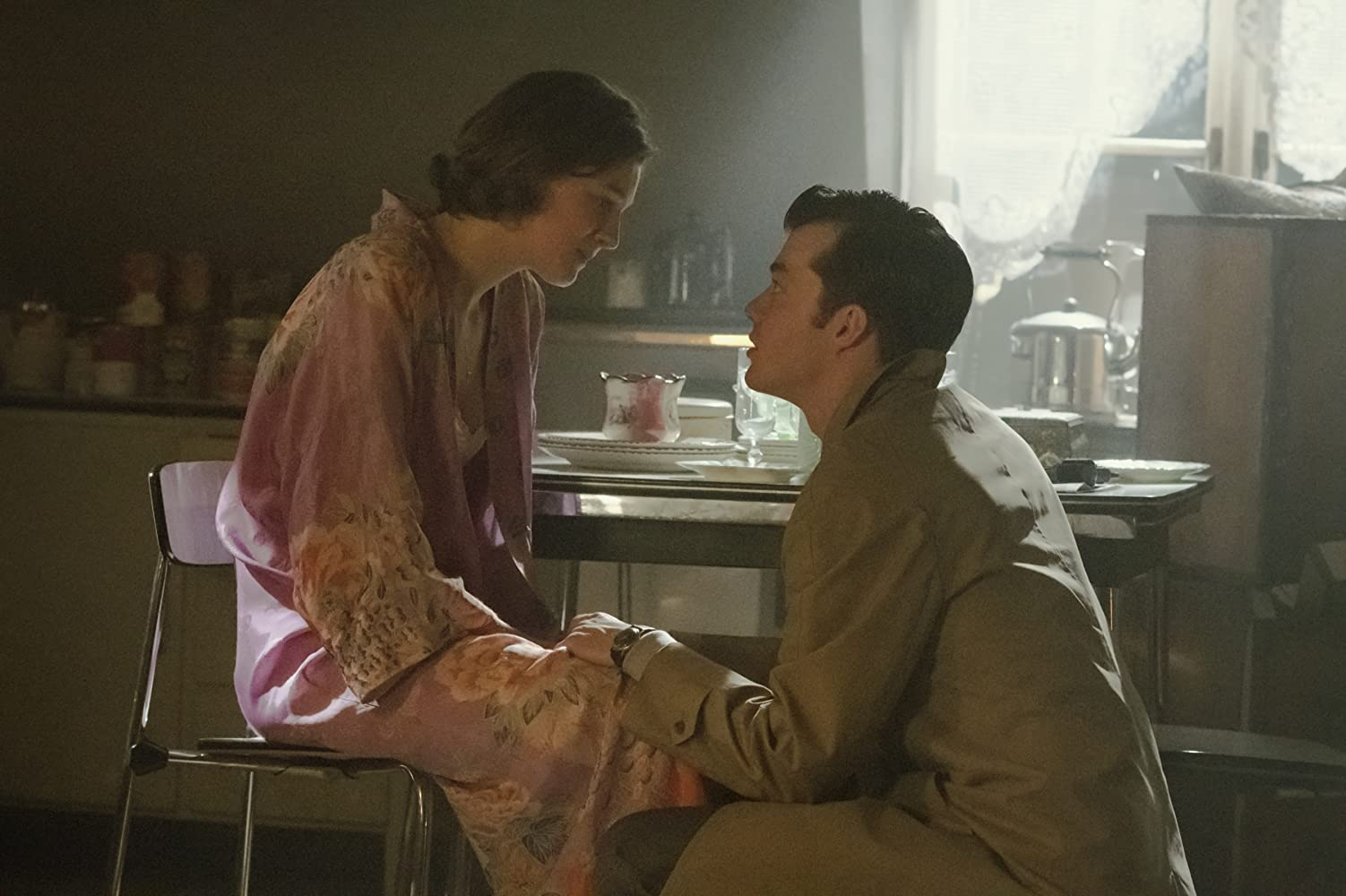Emma Corrin and Jack Bannon in Pennyworth (2019)