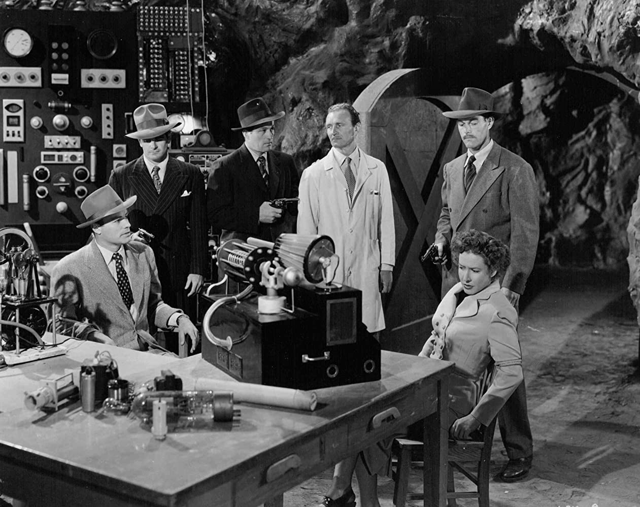 Mae Clarke, James Craven, Don Haggerty, House Peters Jr., David Sharpe, and Tom Steele in King of the Rocket Men (1949)