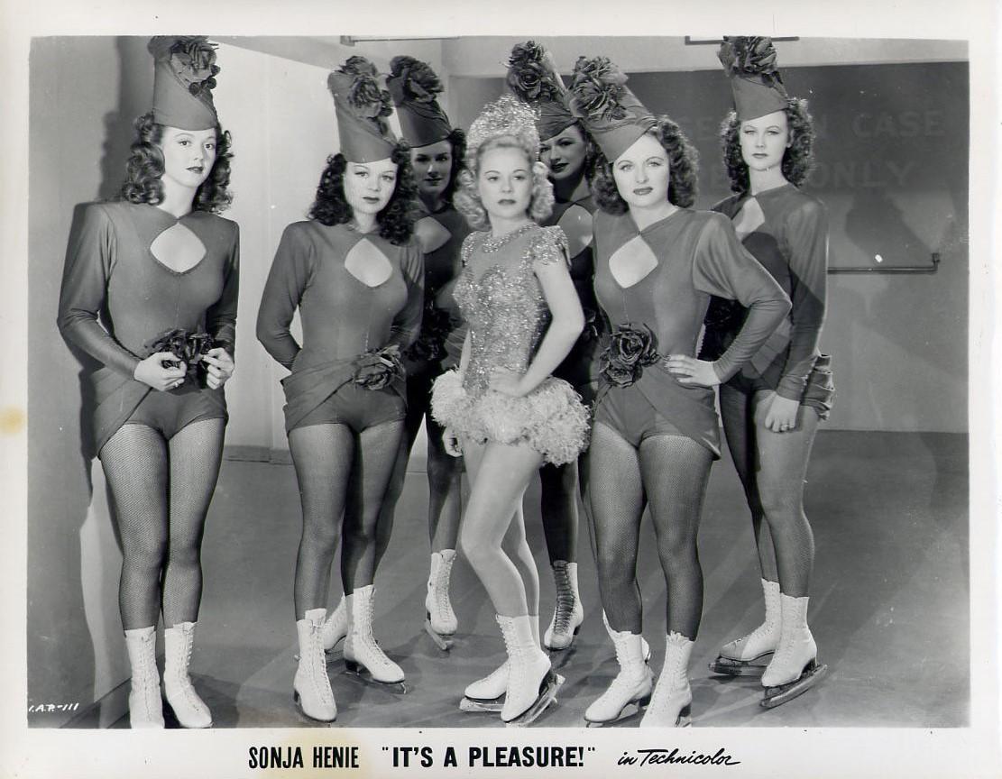 Sonja Henie, Louise Allen, Pamela Ewing, Marilyn Frasche, Clarice Evans, Carol Brinckman, and Lorraine Brinckman in It's a Pleasure (1945)