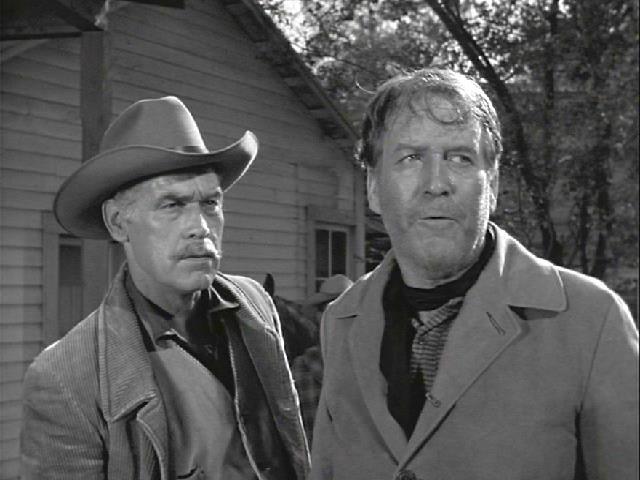Dick Foran and Stuart Randall in Lawman (1958)