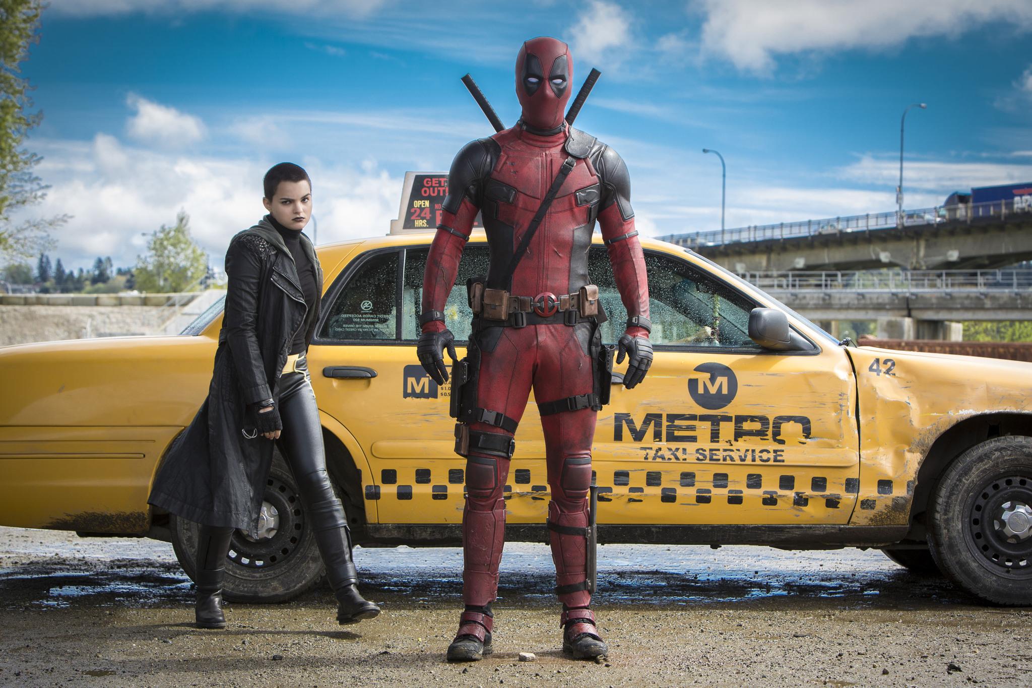 Ryan Reynolds and Brianna Hildebrand in Deadpool (2016)