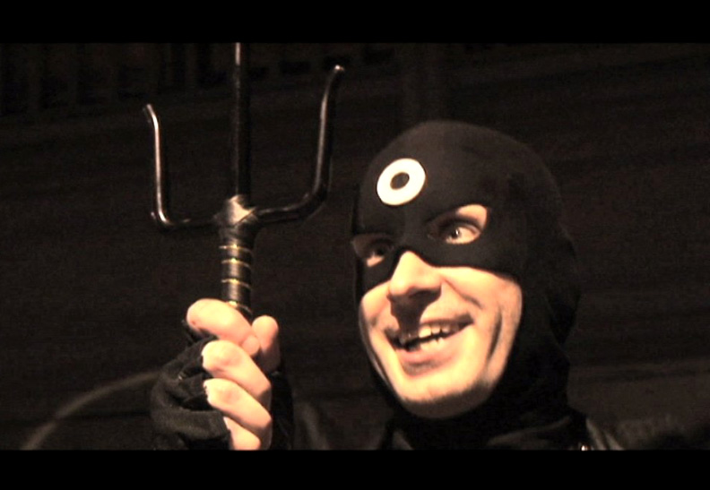 """Elektra: The Hand & The Devil"" Movie Still. Bullseye (Damien Colletti) now has Elektra's Sai."
