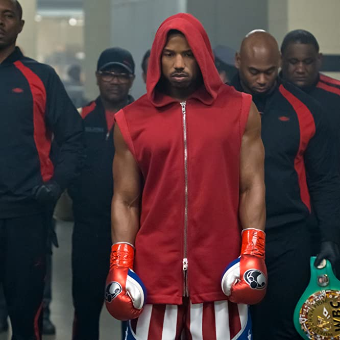 Evander Holyfield, Wood Harris, and Michael B. Jordan in Creed II (2018)