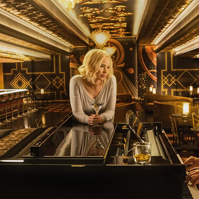 Chris Pratt, Michael Sheen, and Jennifer Lawrence in Passengers (2016)