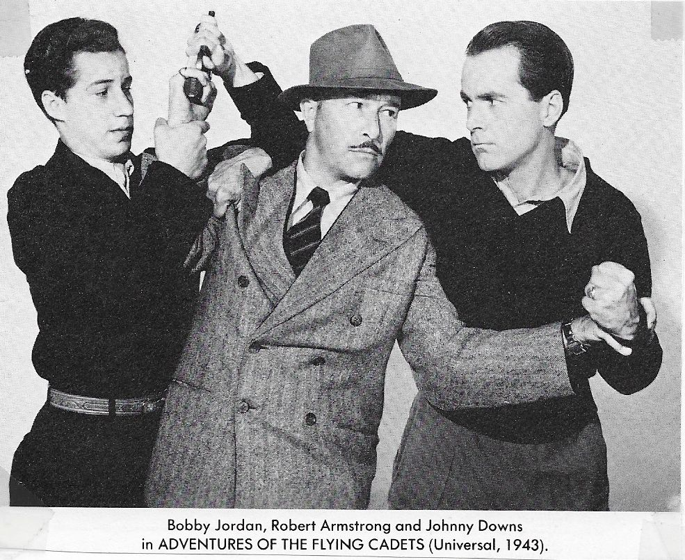 Robert Armstrong, Johnny Downs, and Bobby Jordan in Adventures of the Flying Cadets (1943)