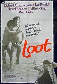Richard Attenborough, Hywel Bennett, and Roy Holder in Loot (1970)