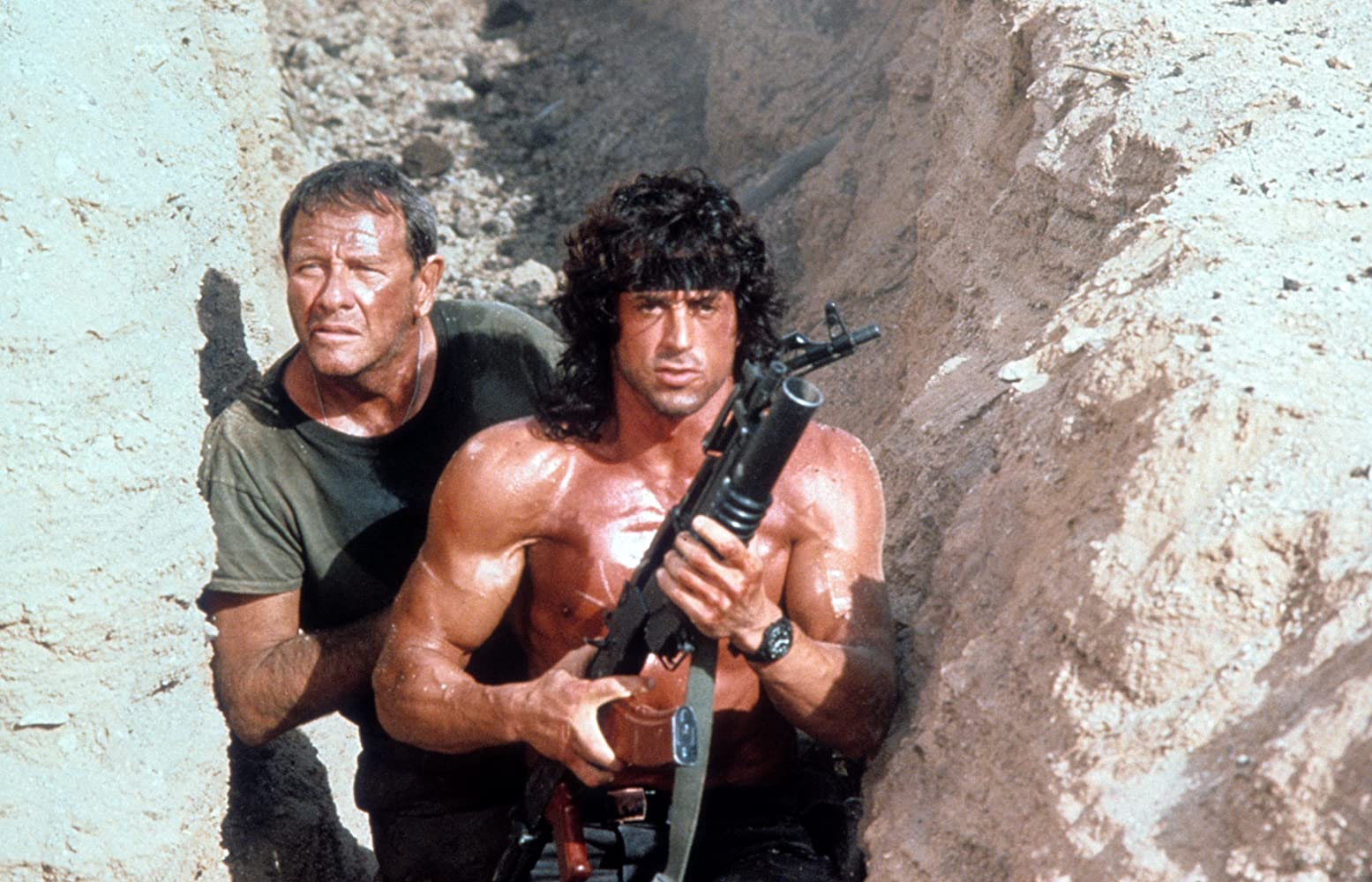 Sylvester Stallone and Richard Crenna in Rambo III (1988)
