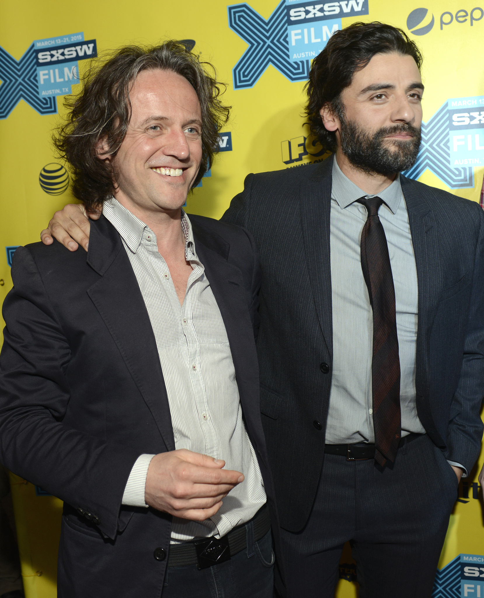 Rob Hardy and Oscar Isaac at an event for Ex Machina (2014)
