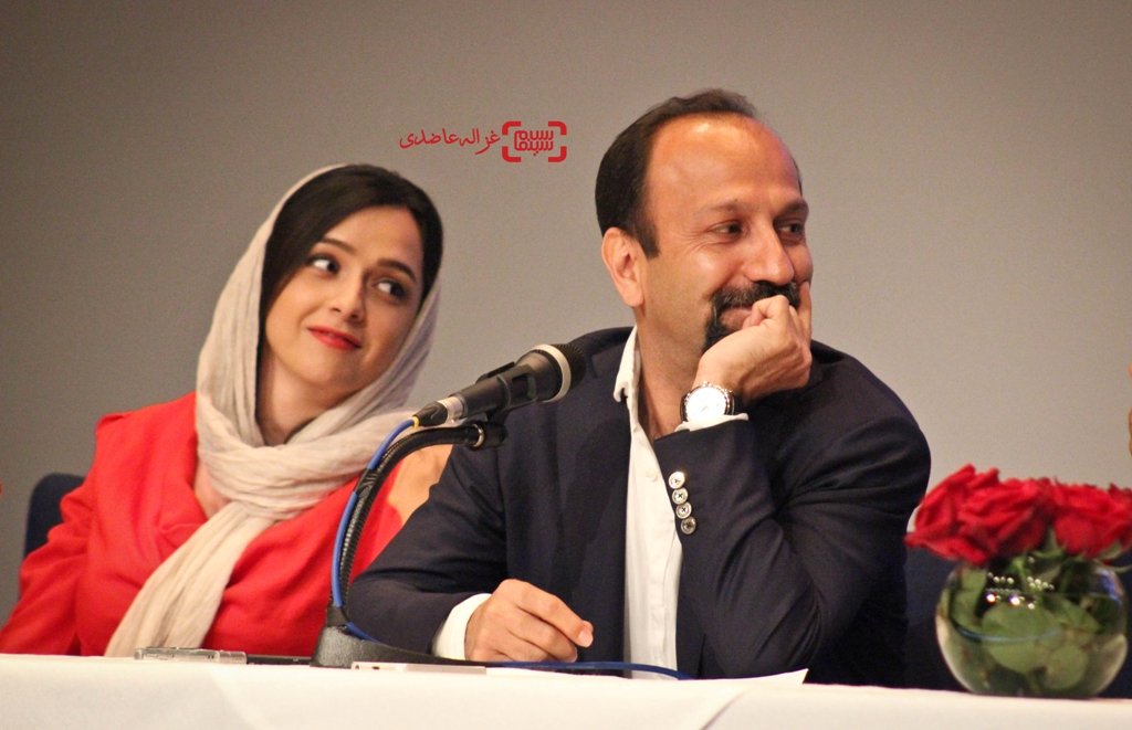 Taraneh Alidoosti and Asghar Farhadi at an event for Forushande (2016)
