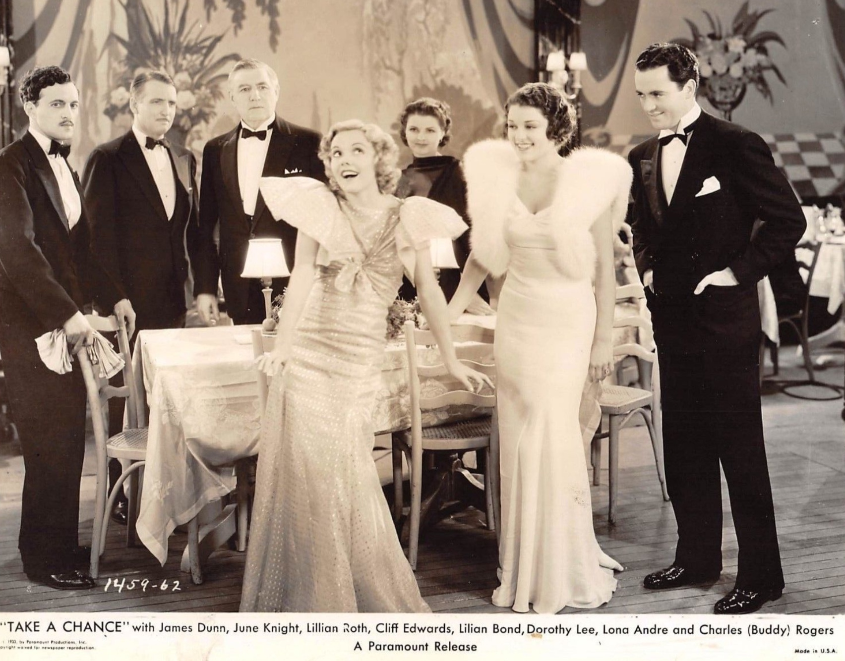 Lilian Bond, Robert Gleckler, Dorothy Lee, Charles 'Buddy' Rogers, and Lillian Roth in Take a Chance (1933)