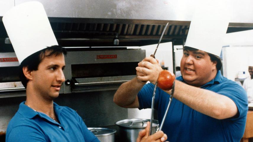 Bronson Pinchot and Dan Schneider in Hot Resort (1985)