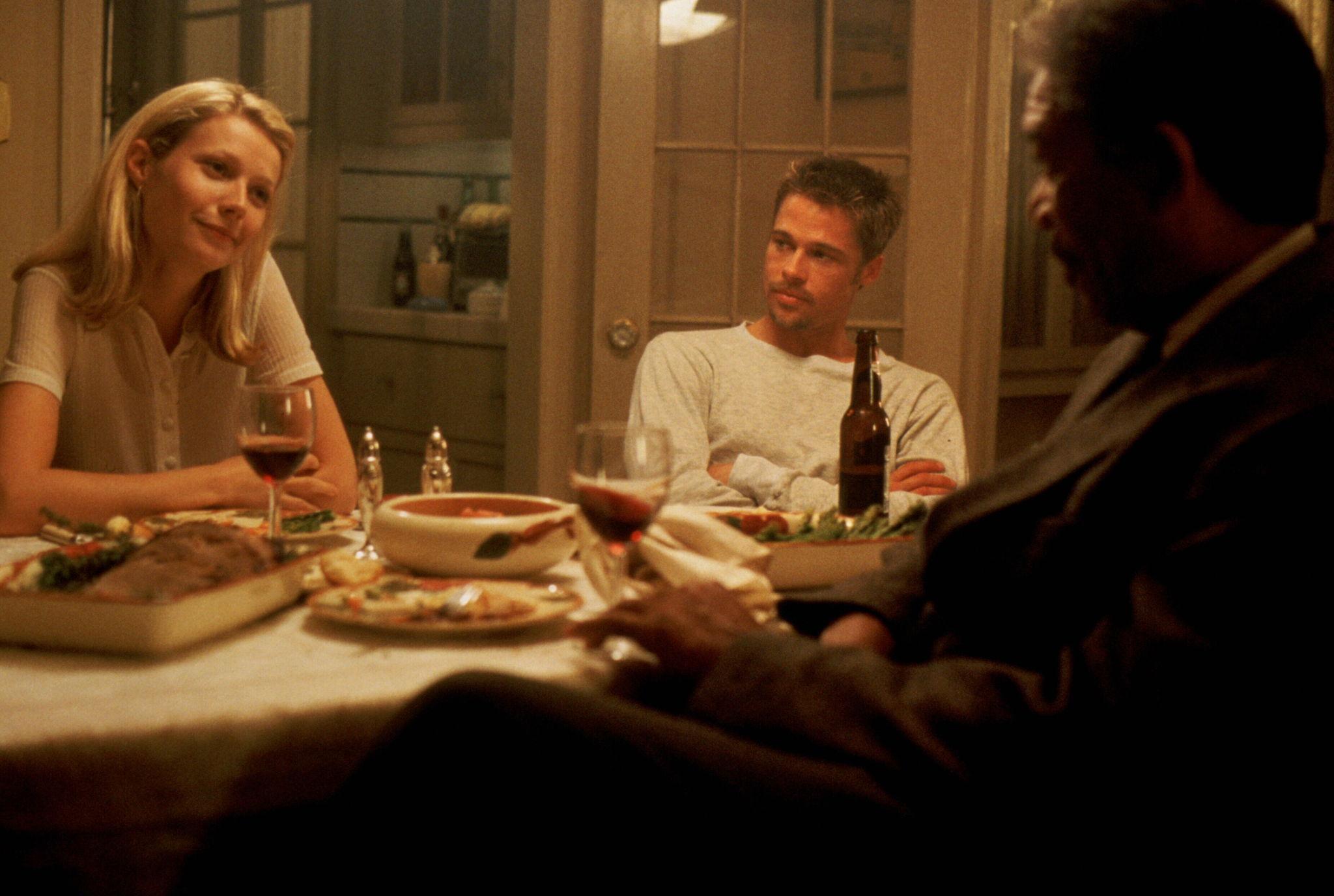 Brad Pitt, Morgan Freeman, and Gwyneth Paltrow in Se7en (1995)