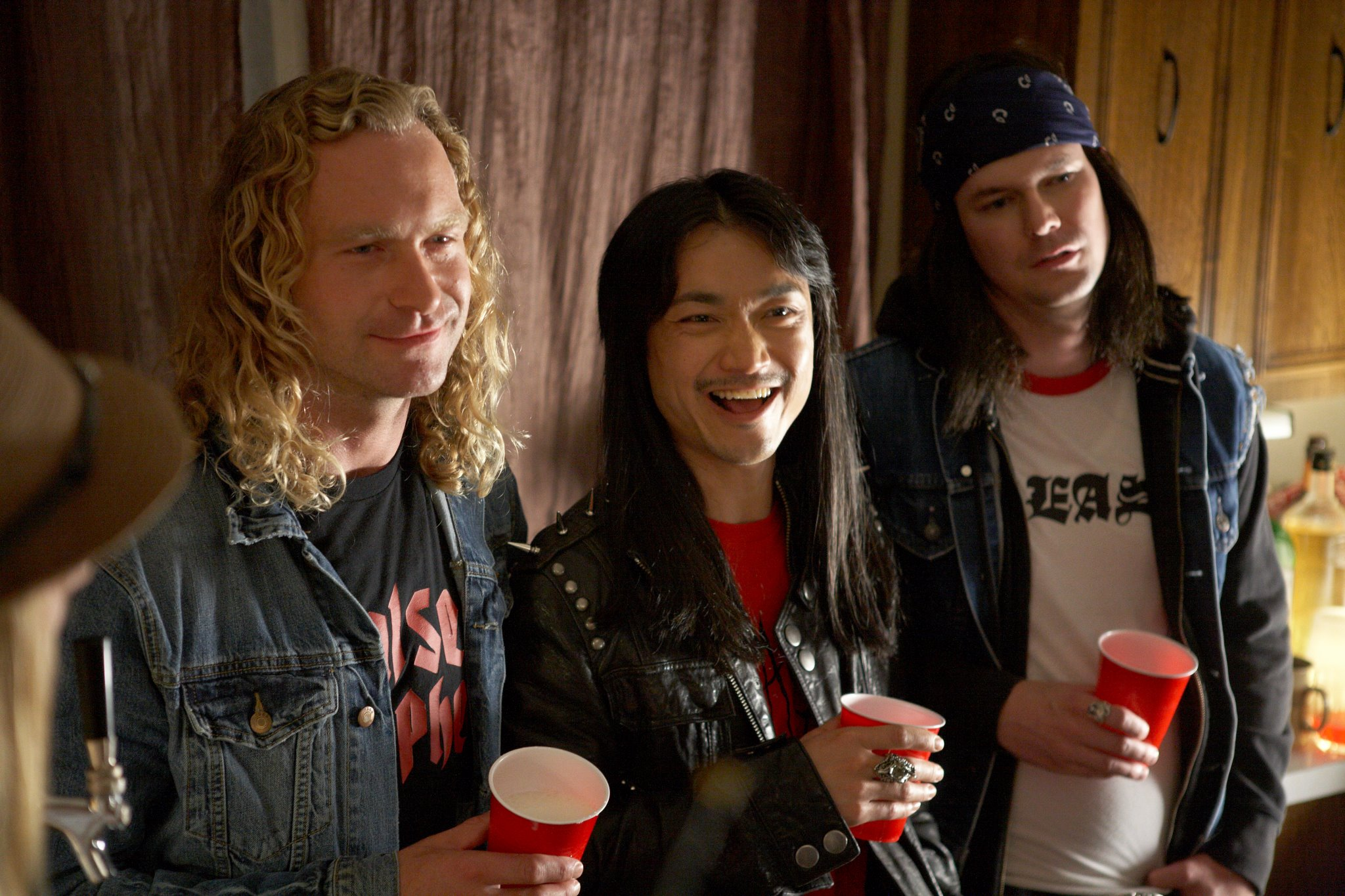 The Metal Dudes: Norman Yeung as Eddie, with Dan Petronijevic and Steve Arbuckle in TODD AND THE BOOK OF PURE EVIL