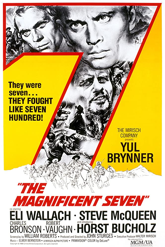 Steve McQueen, Yul Brynner, and Eli Wallach in The Magnificent Seven (1960)