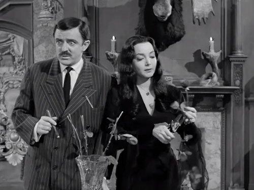 John Astin and Carolyn Jones in The Addams Family 1964