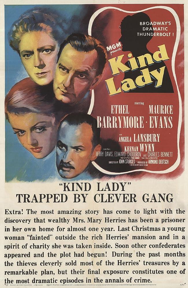 Ethel Barrymore, Angela Lansbury, Maurice Evans, and Keenan Wynn in Kind Lady (1951)