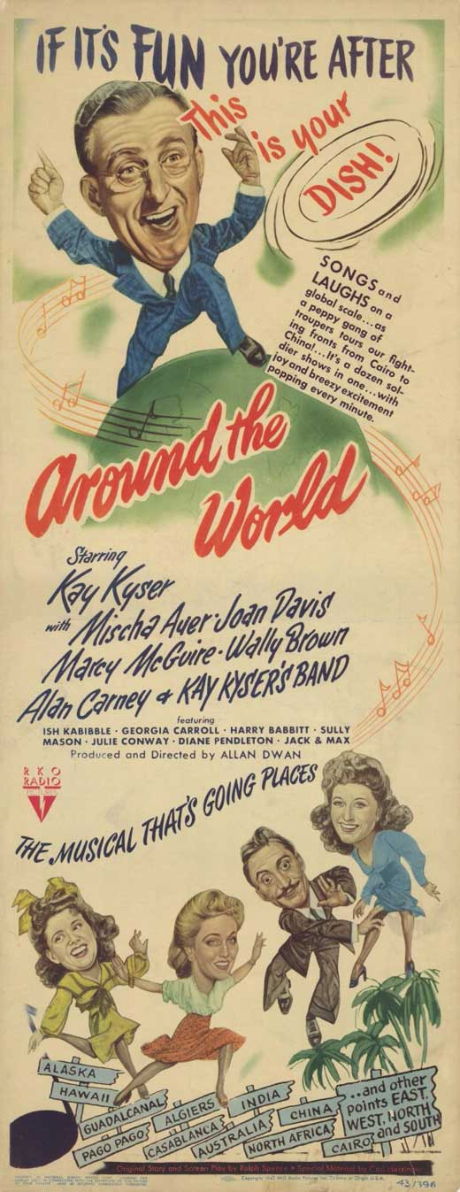 Mischa Auer, Joan Davis, Kay Kyser, and Marcy McGuire in Around the World (1943)