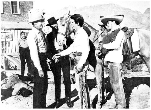 Randolph Scott, Craig Stevens, L.Q. Jones, Manuel Rojas, and Peter Whitney in Buchanan Rides Alone (1958)