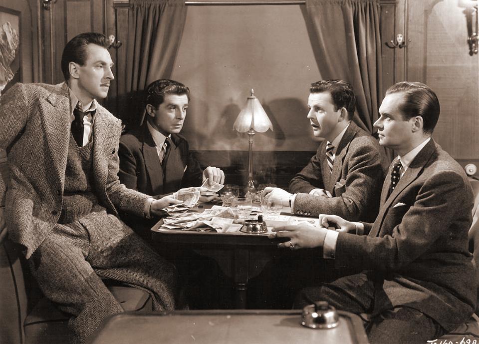 Paul Dupuis, Albert Lieven, David Tomlinson, and Alan Wheatley in Sleeping Car to Trieste (1948)