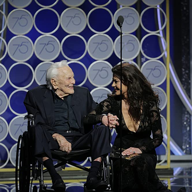 Kirk Douglas and Catherine Zeta-Jones at an event for 75th Golden Globe Awards (2018)