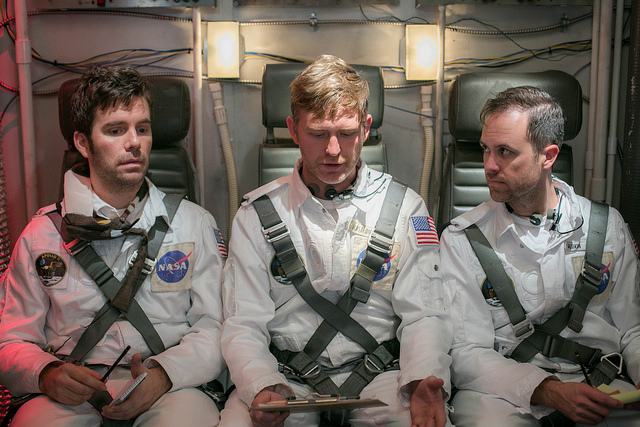 """Production Still from the """"Lunar Landing"""" episode of Passive Aggressive History on Rachel Dratch's Late Night Snack (truTV). Featuring Dan Oster, Ryan Harrison, and Frank Smith."""