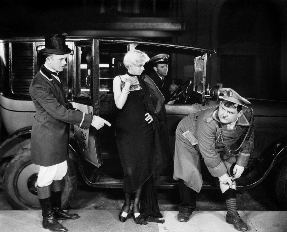 Oliver Hardy, Jean Harlow, and Stan Laurel in Double Whoopee (1929)