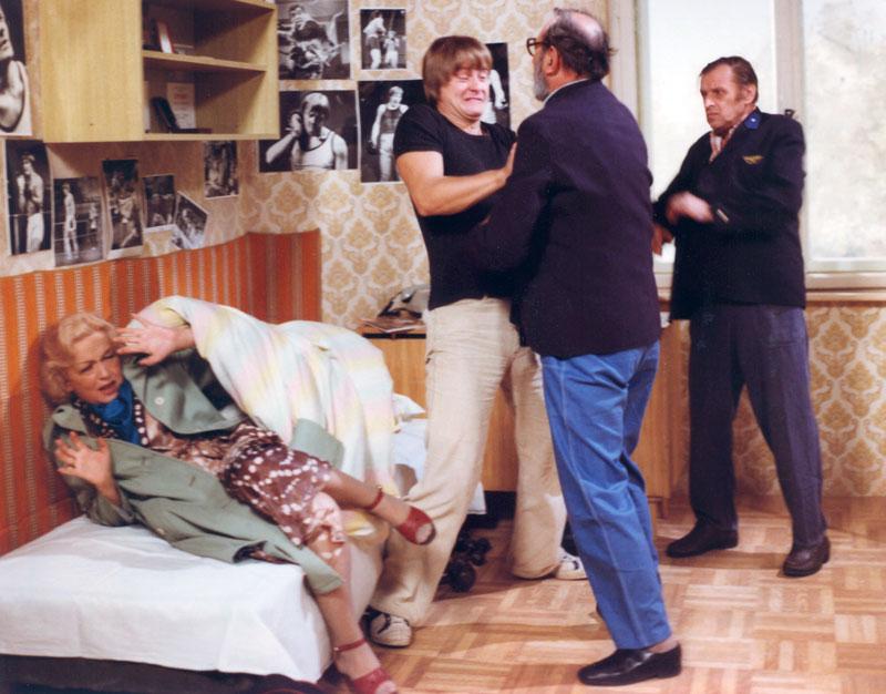Blanka Bohdanová, Karel Fort, Karel Hovorka, and Ivan Lutanský in Mezicas (1981)