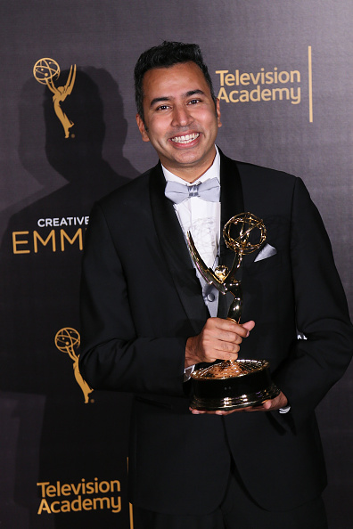 """Kabir Akhtar won an Emmy for editing """"Crazy Ex Girlfriend"""" during the 2016 Creative Arts Emmy Awards at the Microsoft Theater on September 10, 2016 in Los Angele"""