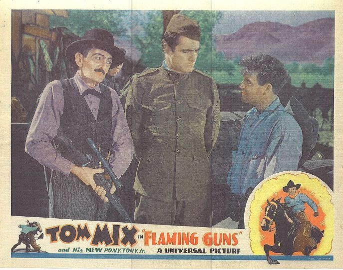 Gilbert Holmes, Tom Mix, Clarence Wilson, and Tony Jr. the Horse in Flaming Guns (1932)