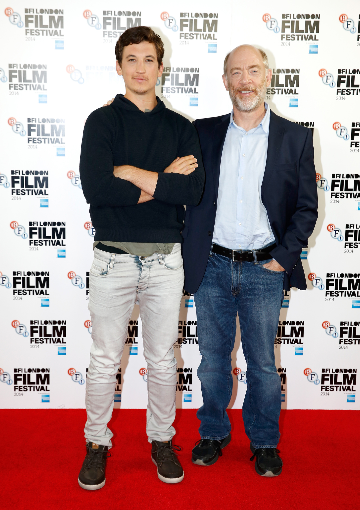 J.K. Simmons and Miles Teller at an event for Whiplash (2014)