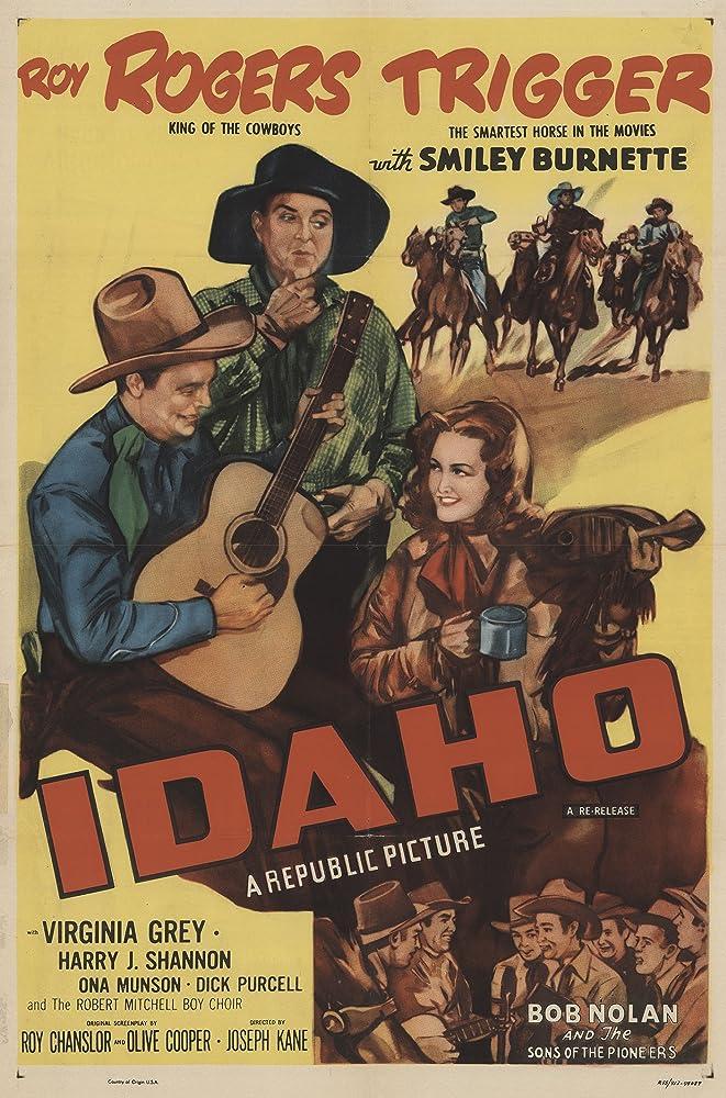Roy Rogers, Pat Brady, Smiley Burnette, Hugh Farr, Karl Farr, Virginia Grey, Bob Nolan, Lloyd Perryman, Sons of the Pioneers, Tim Spencer, and Trigger in Idaho (1943)
