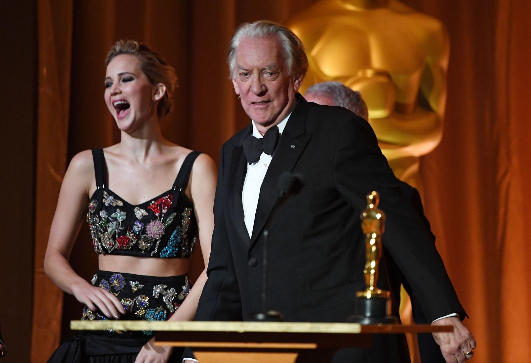 Donald Sutherland and Jennifer Lawrence