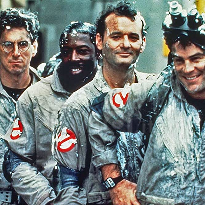 Dan Aykroyd, Bill Murray, Harold Ramis, and Ernie Hudson in Ghostbusters (1984)