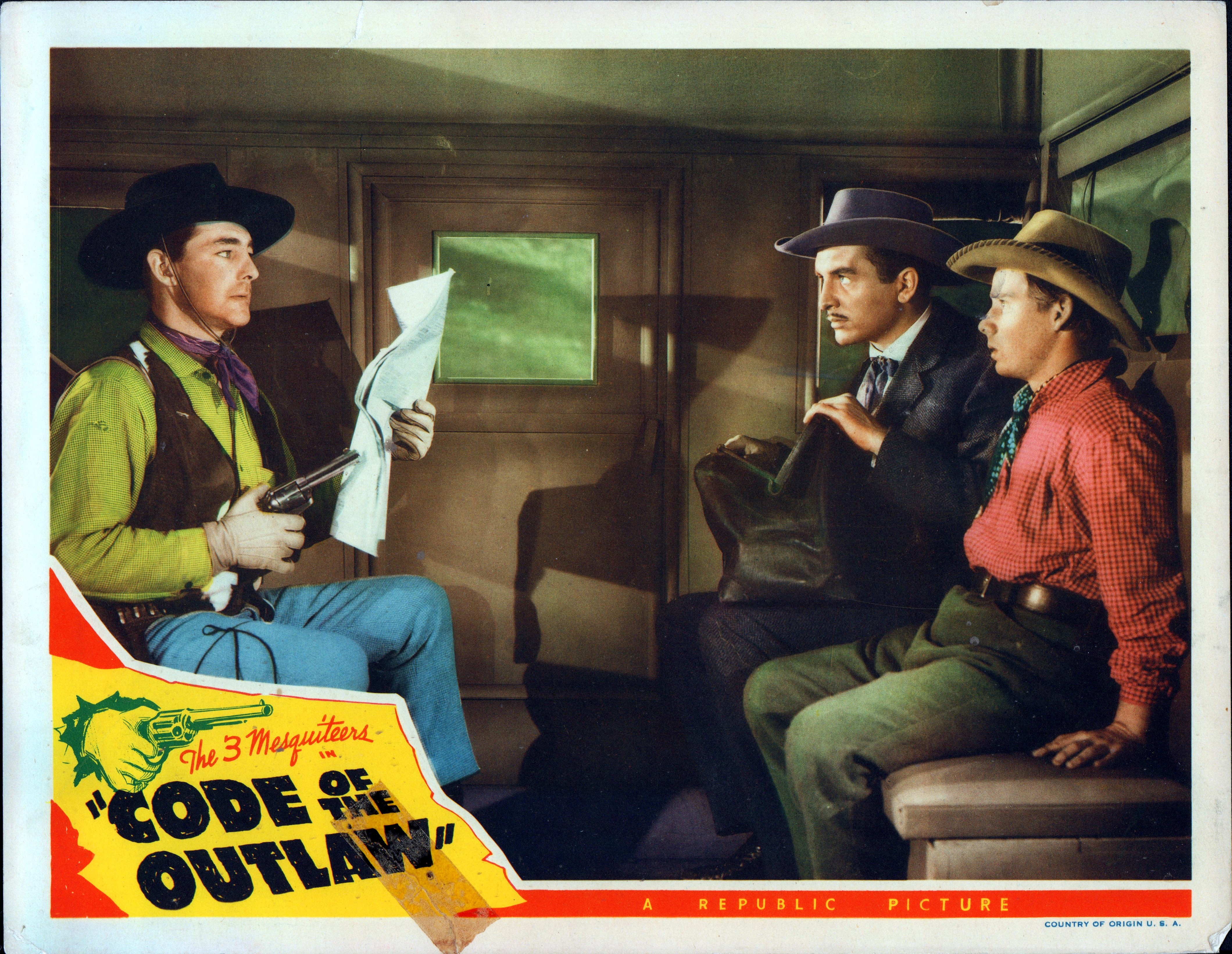 Benny Bartlett, Donald Curtis, and Kenne Duncan in Code of the Outlaw (1942)