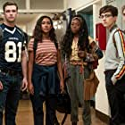 Sydney Park, Burkely Duffield, Asjha Cooper, Dale Whibley, and Jesse LaTourette in There's Someone Inside Your House (2021)