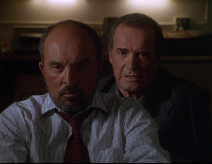 James Garner and Joe Santos in The Rockford Files: If It Bleeds... It Leads (1999)