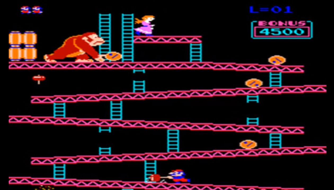 نمایی از بازی Donkey Kong، اولین بازی در سبک ماجراجویی