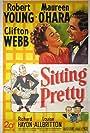 Maureen O'Hara, Robert Young, and Clifton Webb in Sitting Pretty (1948)