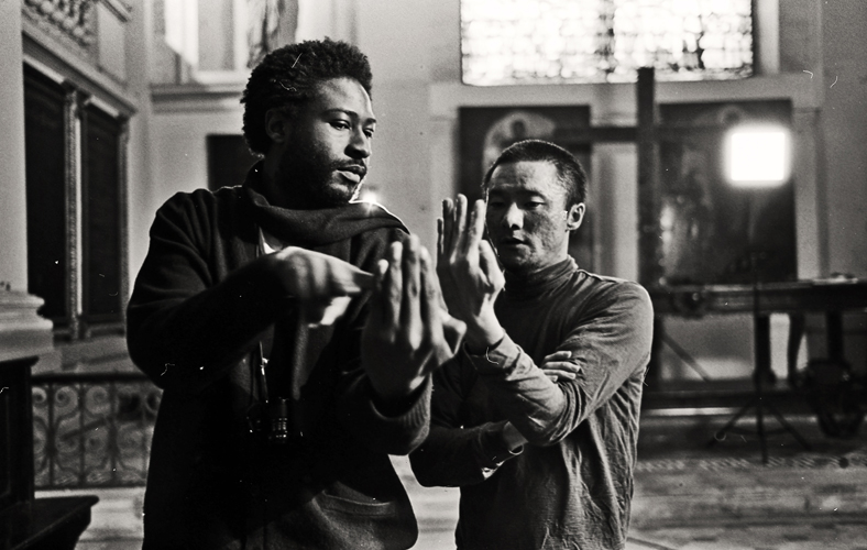 """on set of feature film """"The Fighters Ballad"""" with cinematographer Yosuke Kato"""