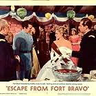 William Holden, John Forsythe, Eleanor Parker, and Carl Benton Reid in Escape from Fort Bravo (1953)