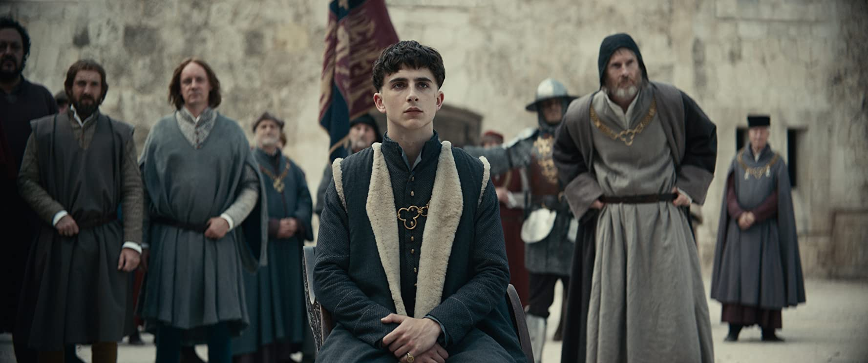 Sean Harris, Ivan Kaye, and Timothée Chalamet in The King (2019)